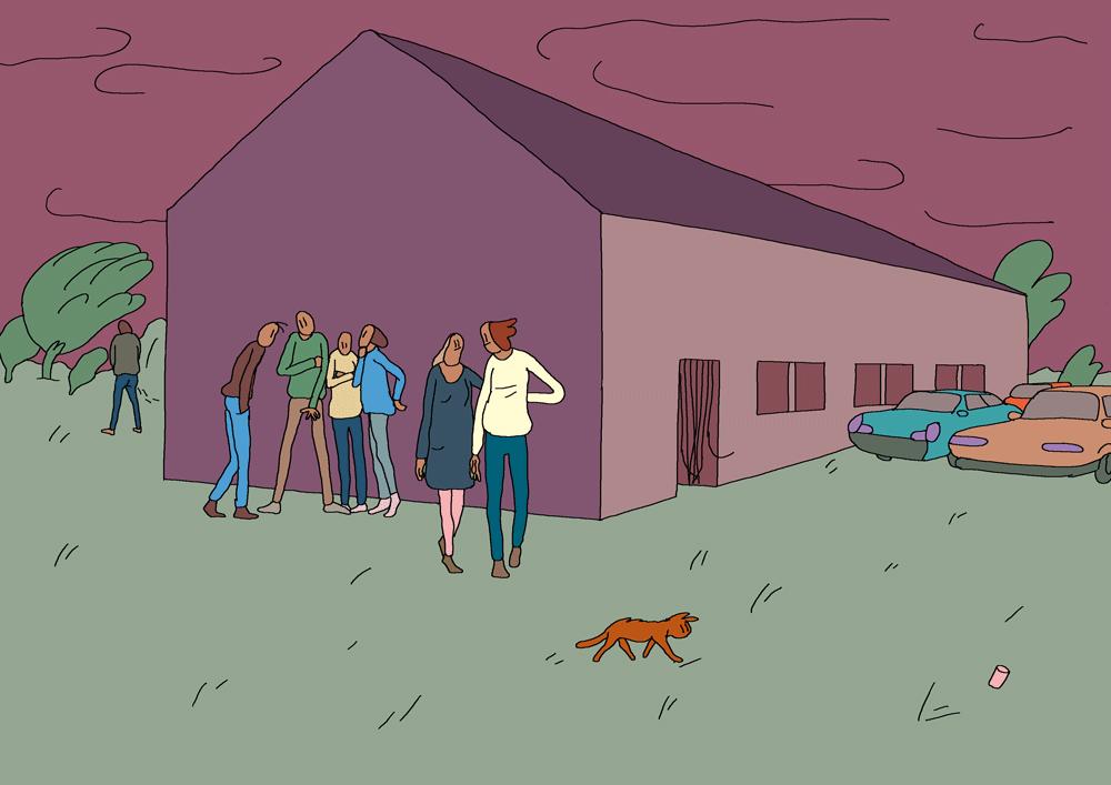 Illustration : des personnages prennent l'air devant une grande maison