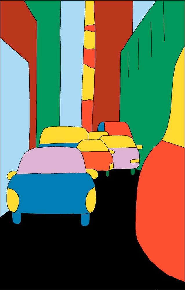 Illustration : une voiture se fraie un chemin dans la ville