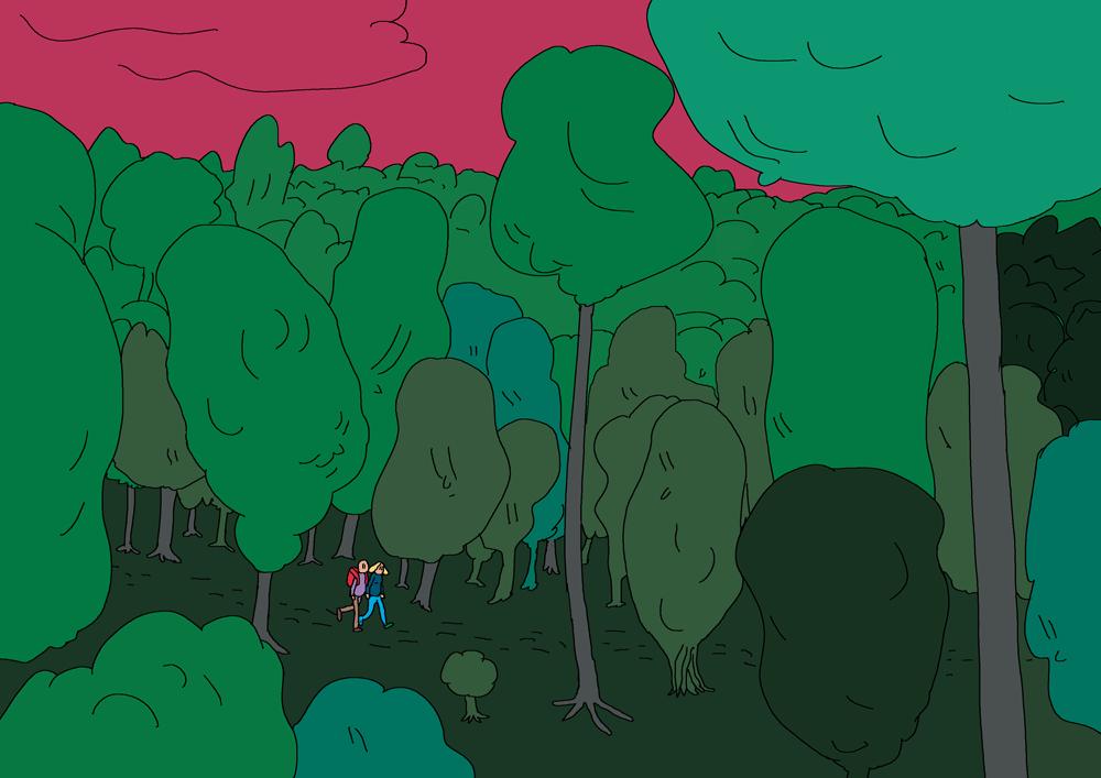 Illustration : deux randonneurs se promènent dans un bois où les arbres semblent avoir des visages