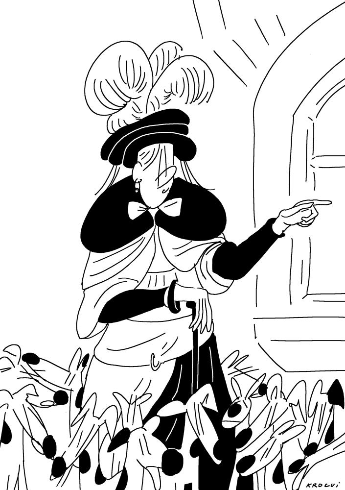 Illustration : un homme en habit du moyen âge avec ses 13 dalmatiens