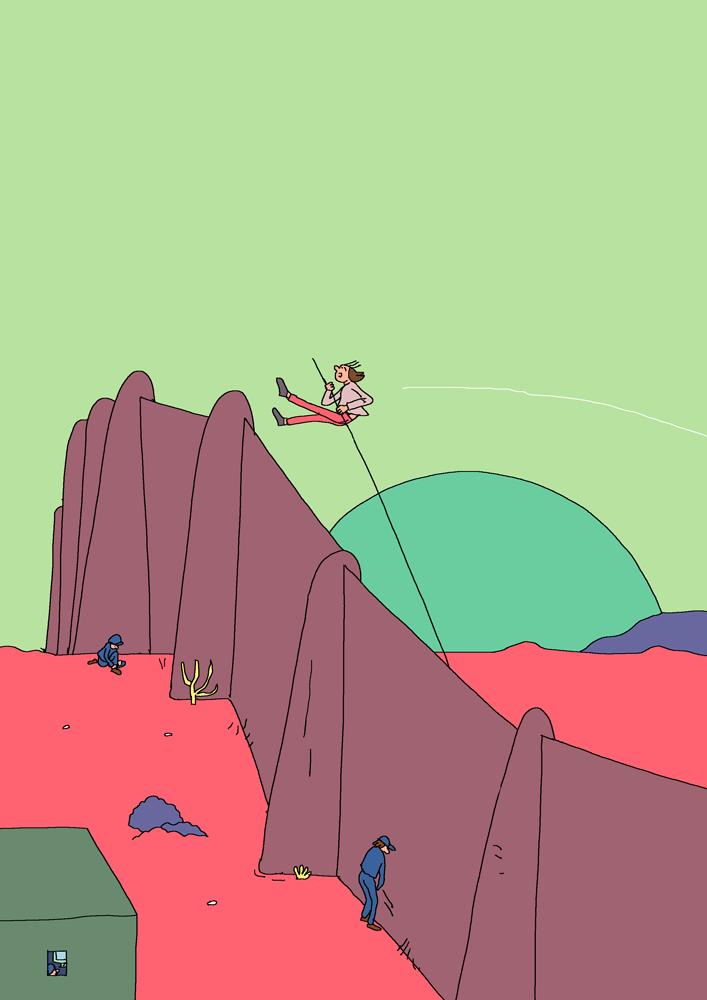 Illustration : un homme franchi un mur de frontière en faisant du saut à la perche