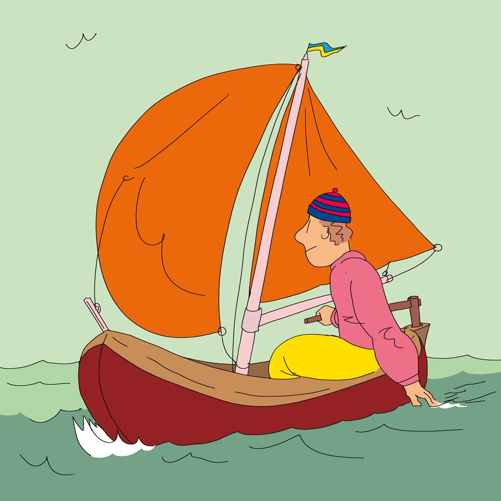 Illustration : un marin au commande de son petit bateau