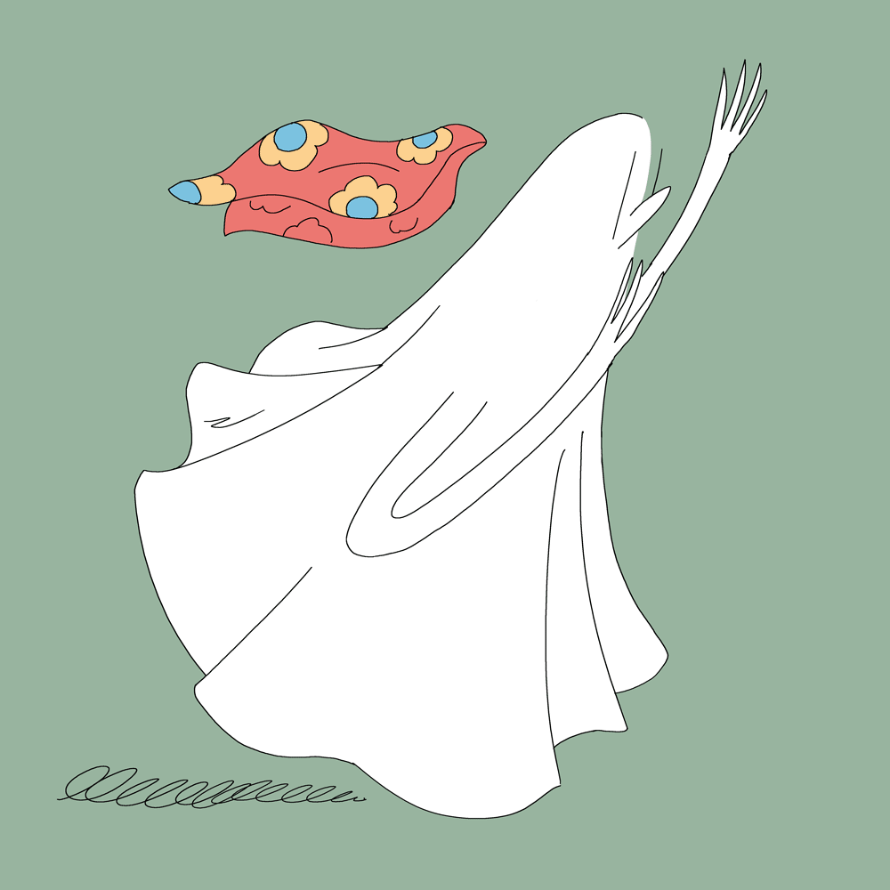 Illustration : un fantôme semble s'enfuir