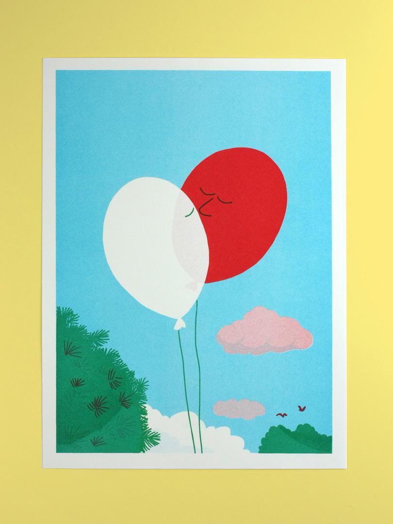 Affiche A3 Riso sur laquelle sont dessinés deux ballons baudruches qui se font un bisous