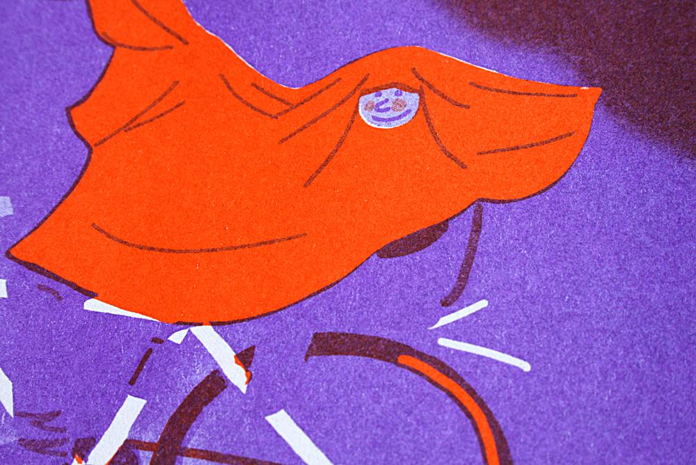 Illustration : un homme fait du vélo sous la pluie, zoom