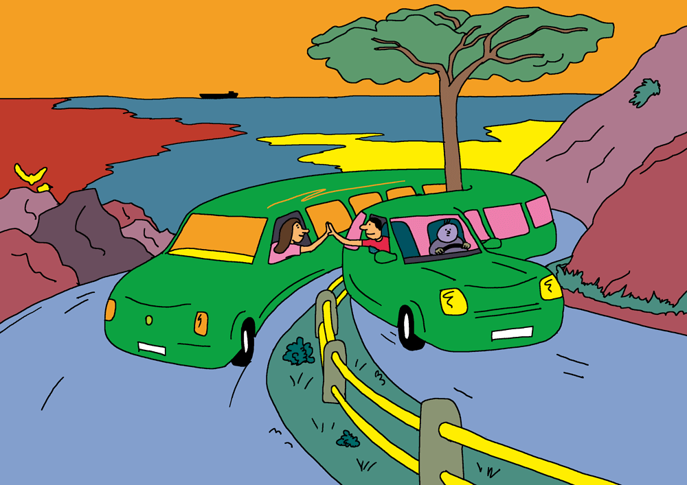 Une limousine très longue se courbe dans un virage en épingle, dans un paysage de méditerannée