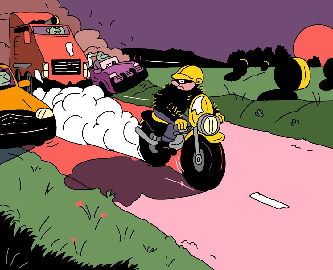 Une poursuite à moto dans la campagne