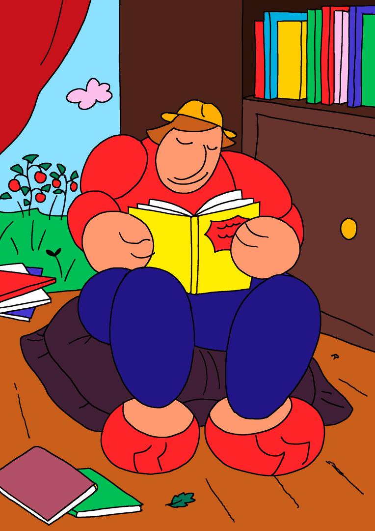 Illustration : un homme lit un livre sur un gros coussin