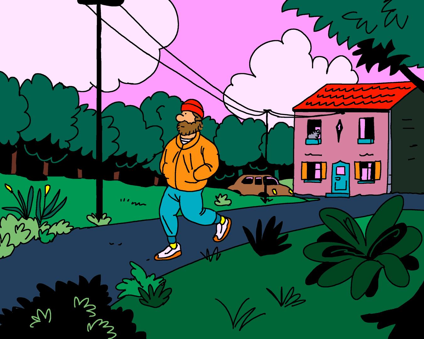 Un homme se promène dans la campagne