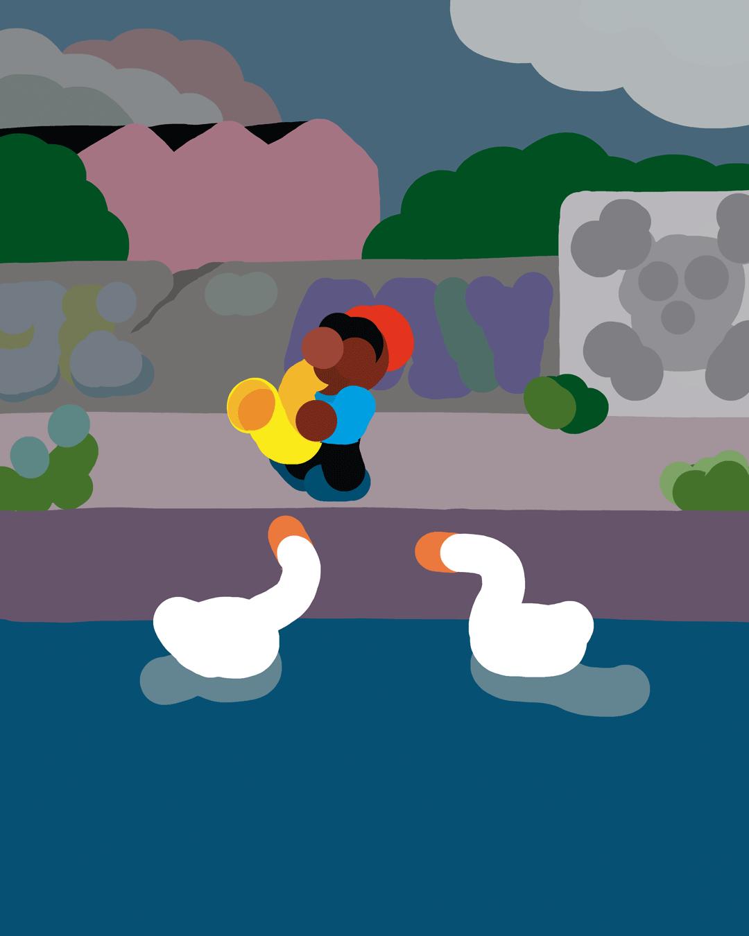 Illustration : Joueur de saxophone sur le canal de l'Ourcq