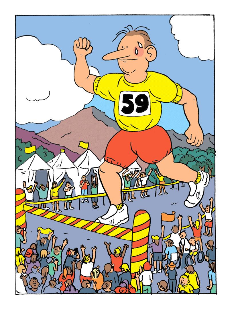 Un grand coureur arrive sur la ligne d'arrivée