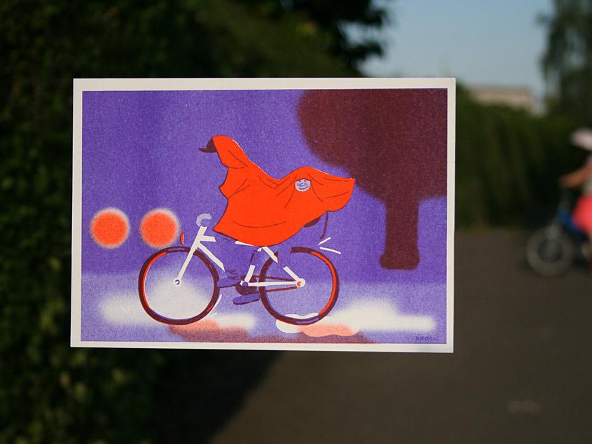 Illustration : un homme fait du vélo sous la pluie