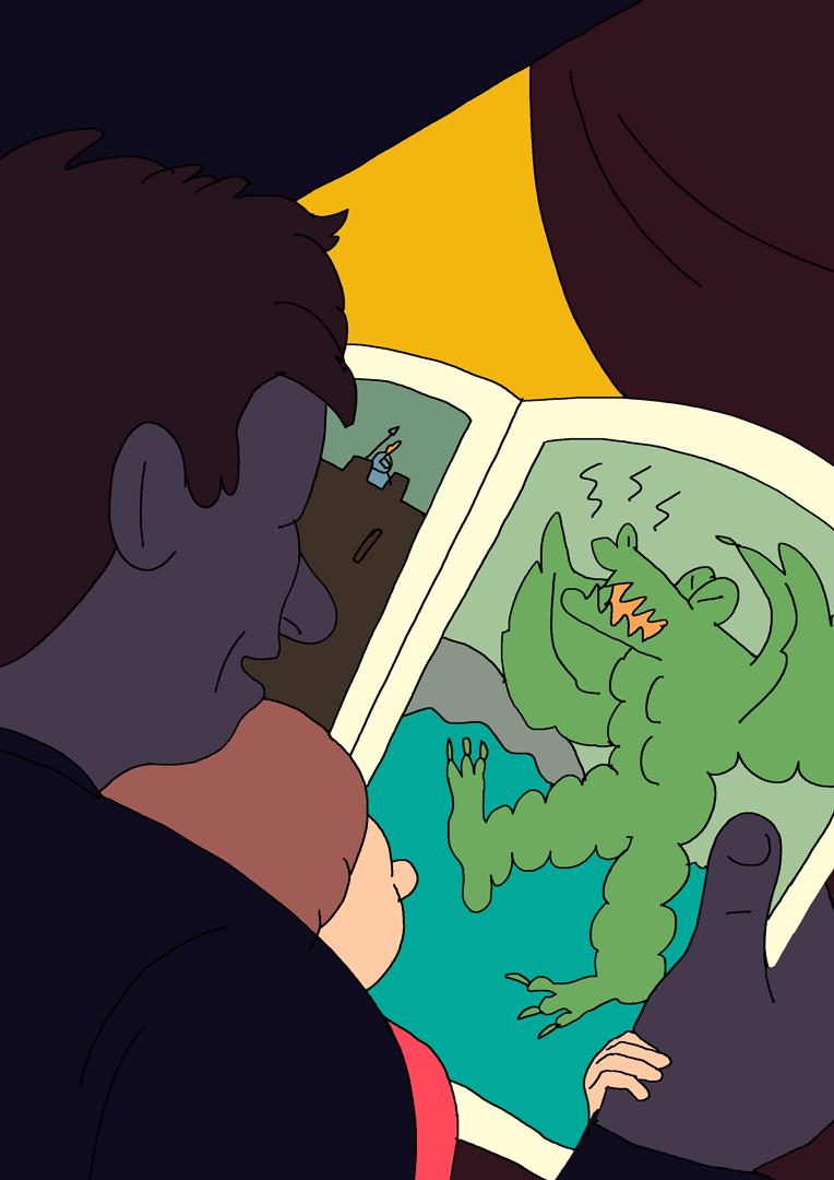 Illustration : un homme lit un livre avec un dragon à son enfant
