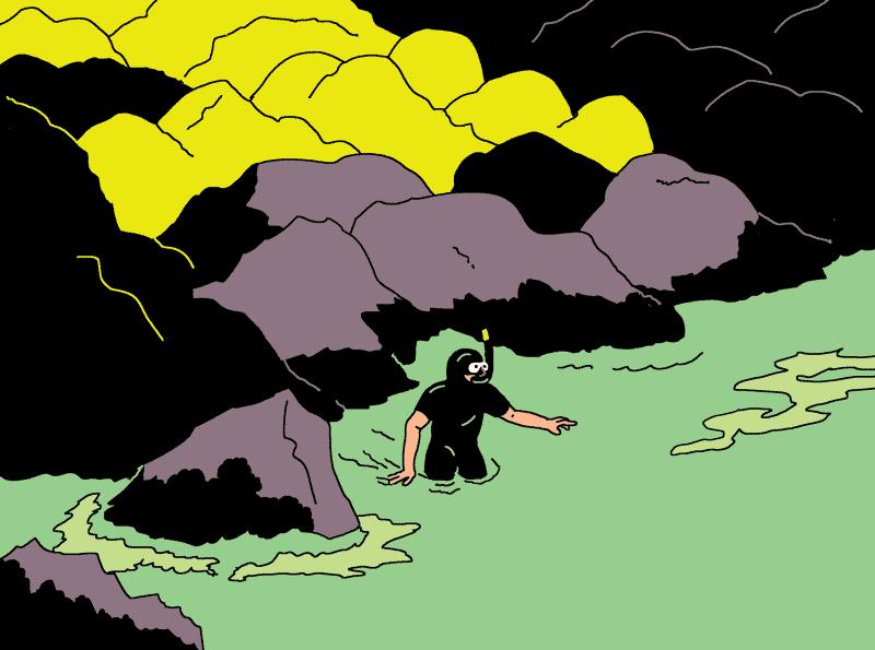 Homme grenouille rentrant dans l'eau