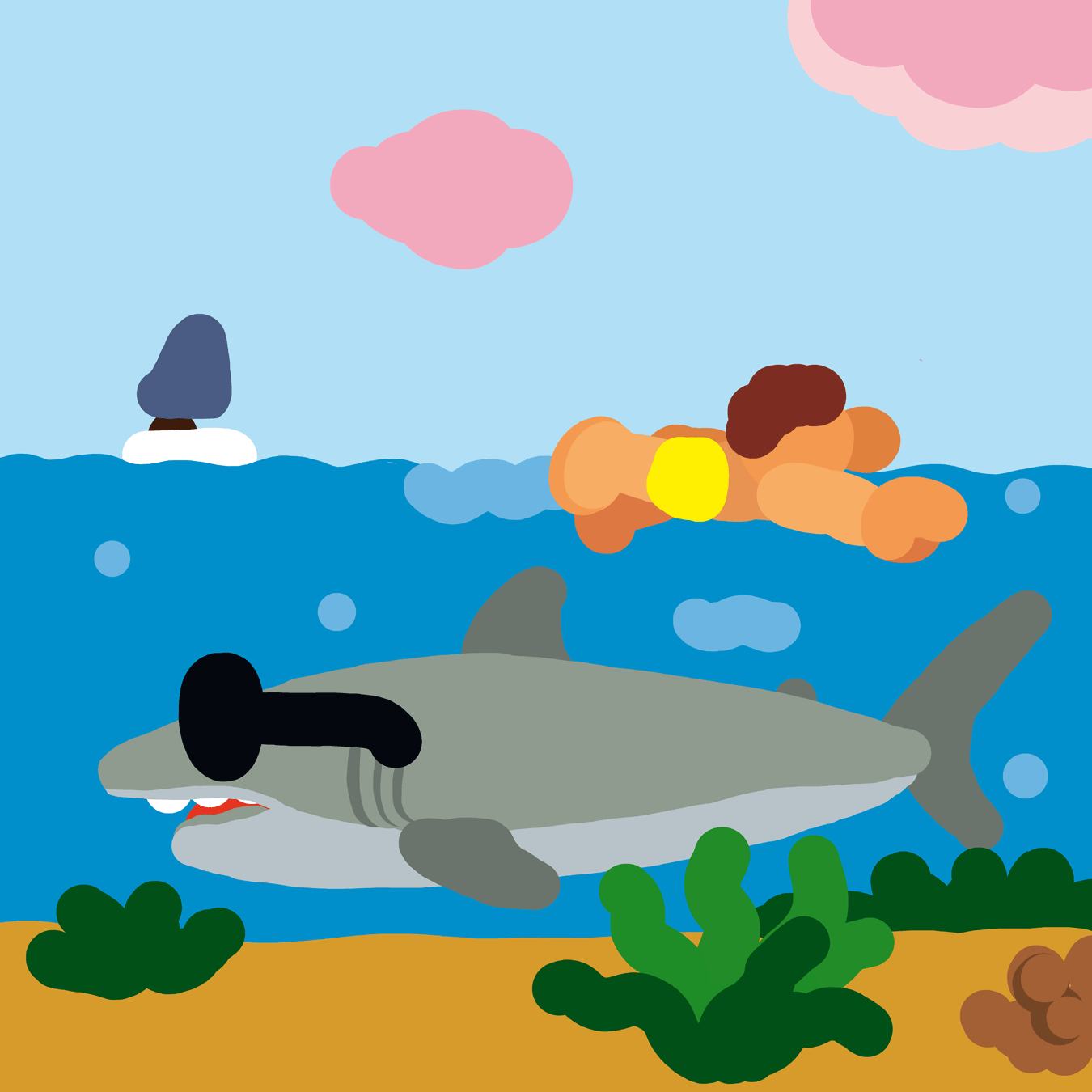 Illustration : requin bigleu