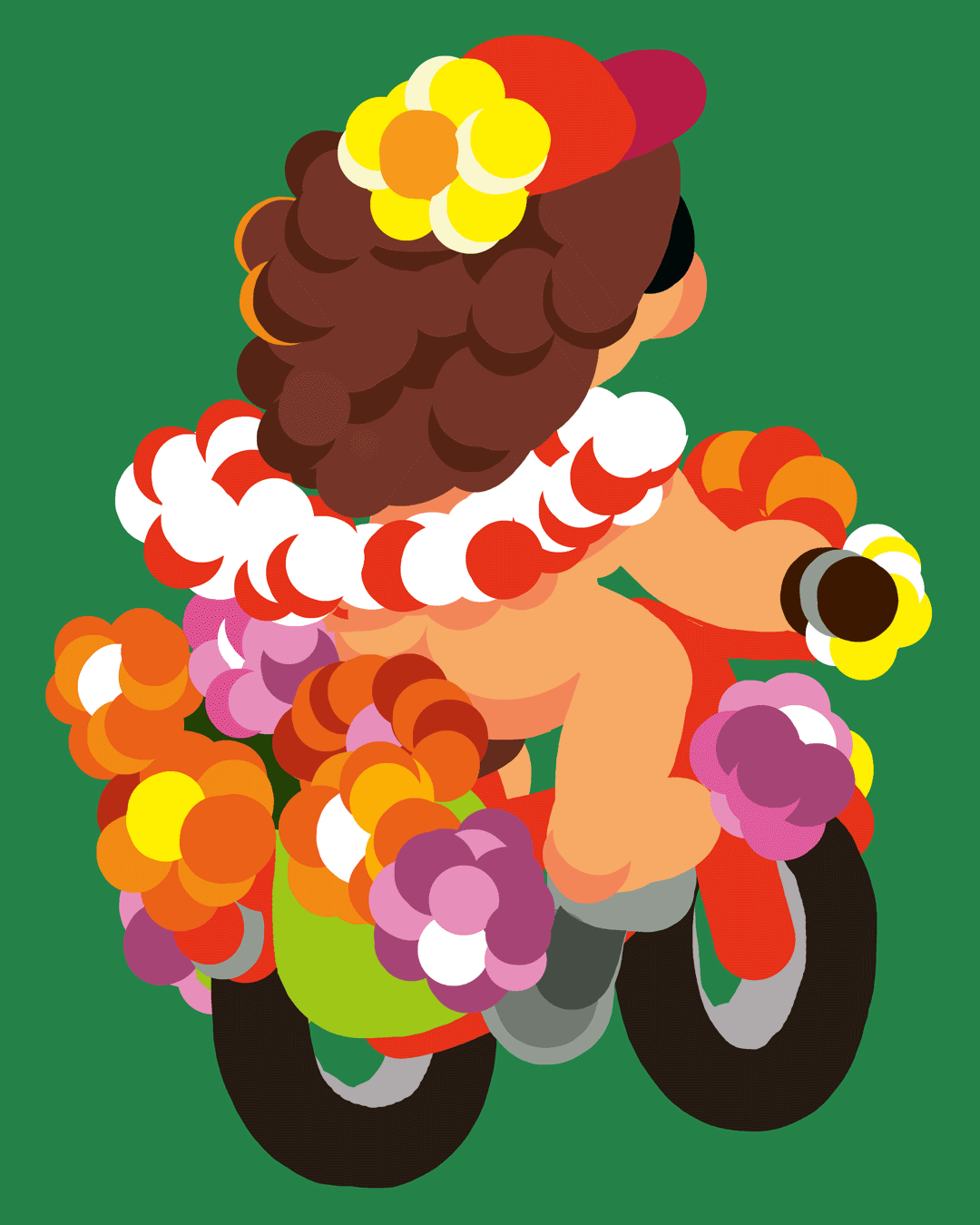 Illustration : vélo fleur